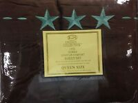 4 Piece Bed Sheets Texas Star Embroidery Brown+TURQUOISE STARS (Queen)
