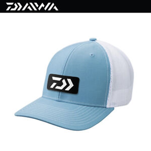 Daiwa D-VEC Embroidered Patch Trucker Fishing Cap Hat -Lt Blue/White (3809)