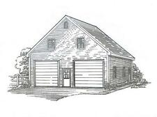 30x32-2 Car FG Garage Building Blueprint Plans Open Lft