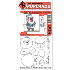 Panda POPCARDS Clear Unmounted Rubber Stamp & Die Set ART IMPRESSIONS 4860 New