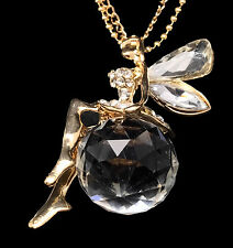 Gold Plated Crystal Fairy Pendant Chain Necklace, Christmas Gift, Gifts for Her