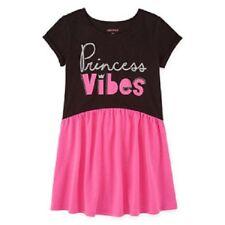 "Okie Dokie Black & Pink ""Princess Vibes"" Knit Dress Toddler Girl Size 4T NEW"