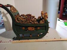 "Reduced vtg. Ornate Wooden Hand Made Sleigh- Wood Art ~ 17"" L x 15.0� W"