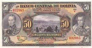 Bolivia 50  Bolivianos  L. 20.7.1928  P 123  Series  F  Circulated Banknote XYZ2