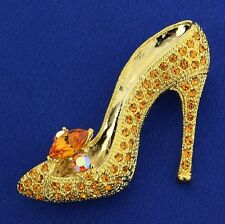 Shoe Brooch W Swarovski Crystal Princess Slippers High Heel Shoes Fairy Pin