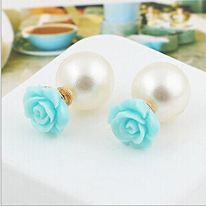 Hot Selling Rose Double Side Stud Earrings (blue)