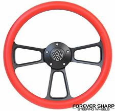 Black & Red Volkswagen VW 1974-93 Steering Wheel Beetle Golf Bus Fox w/ Boss Kit