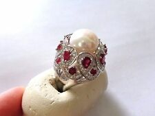 AMAZING  NEW  11 MM PEARL RUBY ZIRCON ORNATE  STERLING SILVER  RING SIZE 5