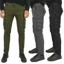 Pantaloni da uomo cargo slim fit invernali Verde Blu Grigio 42 44 46 48 50 52