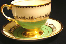 Salisbury Bone China Cup and Saucer Green and White Gold Floral Garland RARE #23