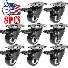 """8PCS Plate Caster with 2"""" Rubber Wheels All Swivel All Brake Casters 1200LB USA"""