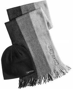 Calvin Klein Mens Hat & Ombré Scarf Set Black