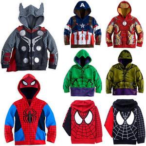Kids Boys Spiderman Hooded Sweatshirt Hoodie Jacket Coat Toddler Outfit Clothes