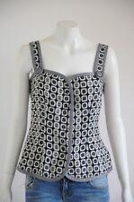'Boo Radley' Women's Black & White Wool Button Up Vest {Size S / 10}