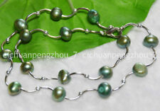 Wholesale Real Natural 8-9mm green Baroque Freshwater Pearl Necklaces C2224