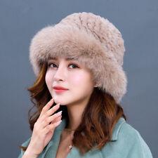 Women Winter Hat Real Knit Rex Rabbit Fur Hat with Fox Fur Brim Girl Bucket Cap
