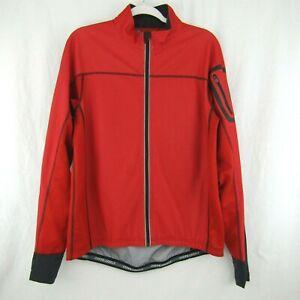 Novara Red Black Knit Cycling Jacket Soft Shell Bike Outdoor Size L Full Zip