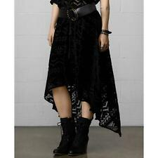 DENIM & SUPPLY RALPH LAUREN MS MEDIUM BLACK TRIBAL SHADOW HANDKERCHIEF HEM SKIRT