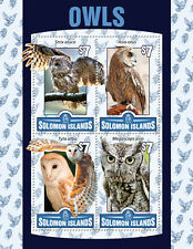 Solomon Islands 2016 MNH Owls Tawny Barn Long-Eared Owl 4v M/S Birds Stamps