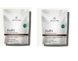 2 bag Arbonne FeelFit Pea Protein Shake Simply1 - Chocolate Flavor