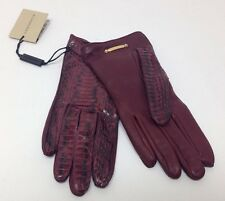 Burberry Cleo Boysenberry Snakeskin Winter Gloves Sz 6.5 $495