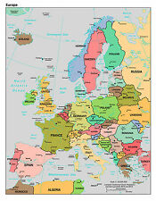 MAP OF EUROPE POSTER PRINT HOME BEDROOM STUDY  A4 EDUCATIONAL HOMEWORK SCHOOL