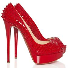 Christian Louboutin Red Lady Peep Spikes Sole Pumps