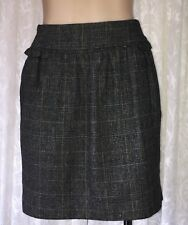 TOKITO SIZE 8 PLEATED CHECK WOOL BLEND SKIRT
