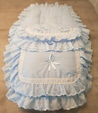 Beautiful pramset,coseytoes,footmuff in blue with satin bows and lace.