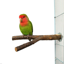 Bird Parrot Perch Stand Holder Natural Wood Toys Grinding Claw Pet Cage Platform