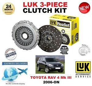 FOR TOYOTA RAV 4 III  2.2 D4D DCAT 4WD CLUTCH KIT 2006-ON LUK 3 PIECE OE QUALITY