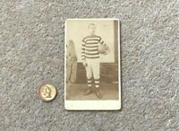 Antique CDV Sepia Photograph FOOTBALL PLAYER in Uniform & Ball