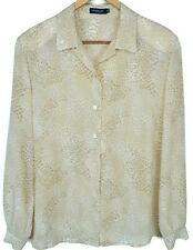 Burberry London Womens Shirt Top Size 42 US 8 Button Front Long Sleeve Animal