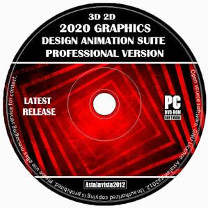 2D 3D Pro Graphics Design Animation Modelling Enhancement Studio PC Software +