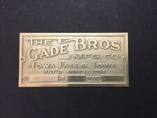 NEW Gade Brothers Etched Brass Tag for Antique Gas Engine Hit Miss