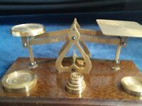 Antique English Postal Scale Brass with Wood Platform 5 weights Nice>