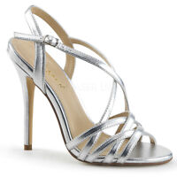 Pleaser AMUSE-13 Women's Silver Metallic Pu High Heel Criss-Cross Strap Sandals
