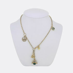 Gold Charm Necklace - Vintage Evil Eye Charm Necklace 9ct Yellow Gold