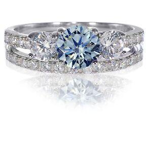 Brilliant Cut Aquamarine Engagement Wedding CZ Sterling Silver Ring Set 3 - 12
