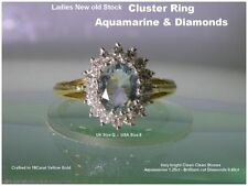 Aquamarine Cluster Not Enhanced Yellow Gold Fine Rings