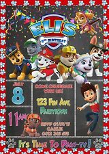 Paw Patrol Chalkboard Personalised Digital Invitation - Print At Home