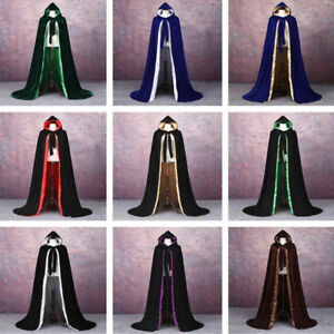 Velvet Cloak Renaissance Medieval Cosplay Cape LOTR LARP Star Wars Coats