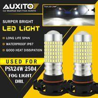 2X AUXITO PSX24W 2504 12276 Fog Light Super White 6000K 2800LM LED Bulb 144H EA