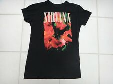 Nirvana Floral T-shirt~Black~Womans Small~Grunge/Kurt Cobain~Good Used Condition