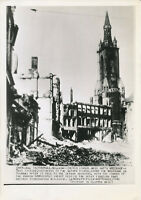 June 1940 WWII 8x12 wire photo Tournai, Belgium Church stands amid wars wreckage
