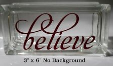 Believe decal sticker for Valentine's Christmas Glass Block Night light