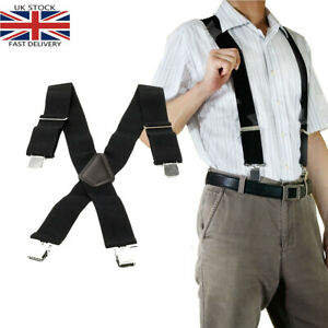 Heavy Duty Work Trouser Braces 50mm Highly Elasticated Unisex Suspenders Black