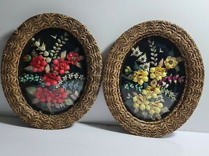 Two Antique Sailors Valentines, Shell Art, Domed Bubble Glass, Hand Weaved Frame