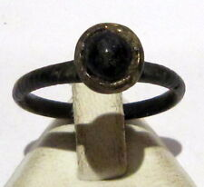 BEAUTIFUL BYZANTINE OR POST-MEDIEVAL BRONZE RING WITH STONE ON THE TOP # 596
