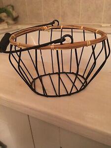 Black Metal And Wicker Basket